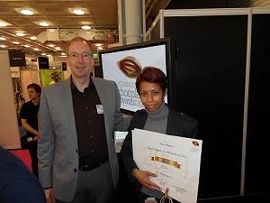 Madame Ranjeva of the Malagasy Ramanandraibe Family collects the gold award - International Chocolate Awards
