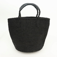 【対象商品】サイザルバッグ 黒革巻ハンドル 黒 9インチ