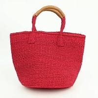 【対象商品】サイザルバッグ 革巻ハンドル 赤 9インチ