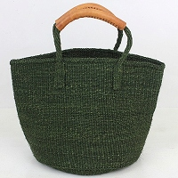 【対象商品】サイザルバッグ 革巻ハンドル ダークグリーン 9インチ