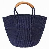【対象商品】サイザルバッグ 革巻ハンドル 濃紺 9インチ