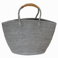 【対象商品】サイザルバッグ グレー 革巻きハンドル 12インチ