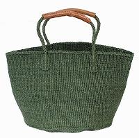 【対象商品】サイザルバッグ ダークグリーン 革巻きハンドル 12インチ