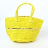 プラスチックサイザルバッグ 透かし編み 黄