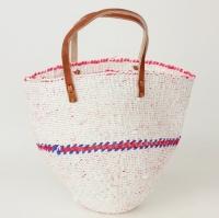 プラスチックサイザルバッグミニ 平革ハンドル 透かし編み 白xフシア