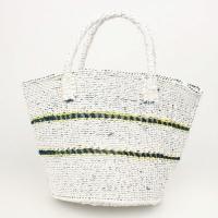 プラスチックサイザル9インチ 透かし編み2段 白xターコイズ